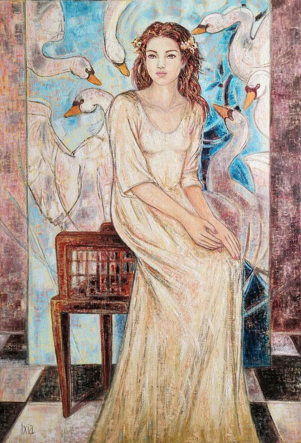 IXIA Artiste - Les six cygnes 89 x 130 cm 2020