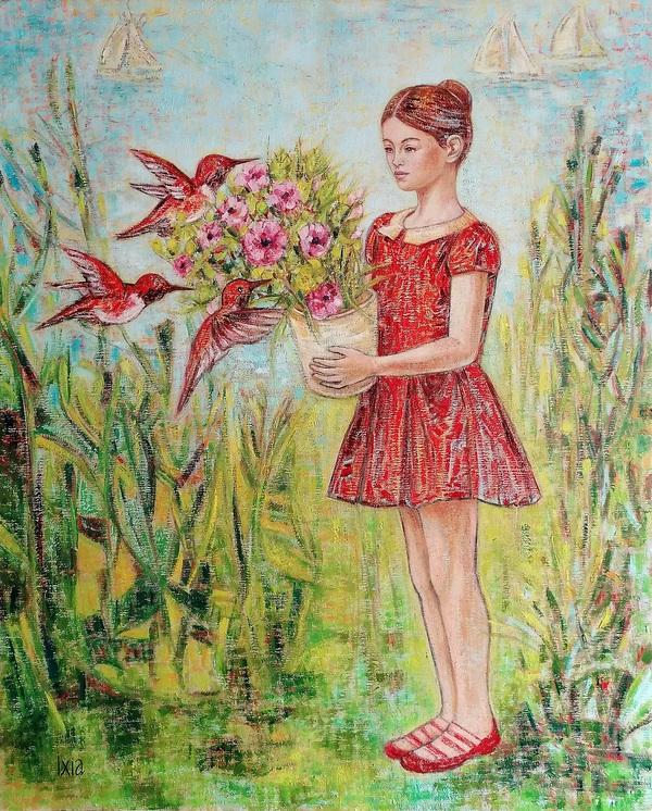 IXIA Artiste - Jeune fille et colibris au bord de la mer 81 x 100 cm 2020