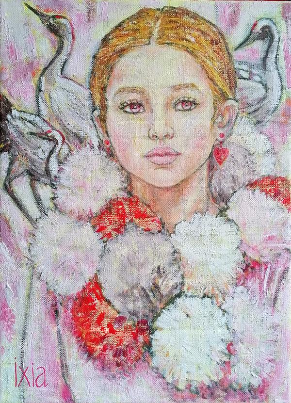 IXIA Artiste - Junon, petit coeur dhiver - peinture à lhuile sur toile, 24 x 33 cm, 2020.