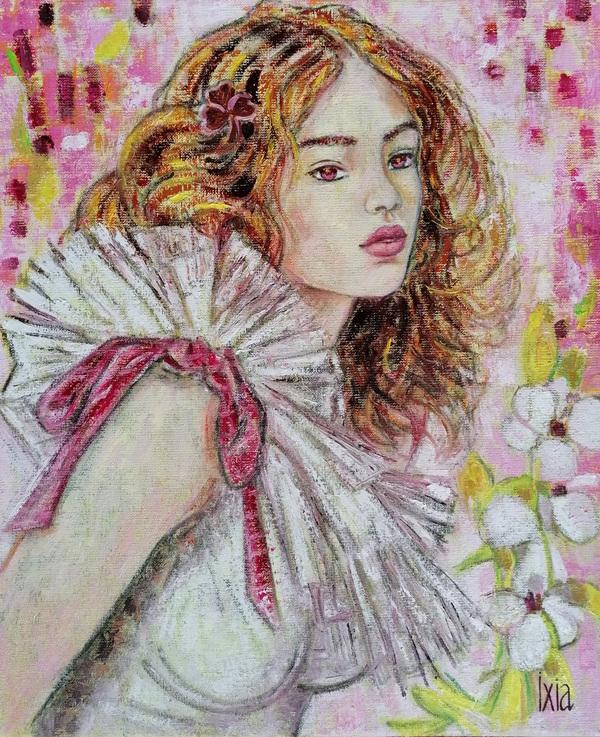 IXIA Artiste - Flore, petit trèfle de printemps - peinture à lhuile sur toile, 38 x 46 cm, 2020.