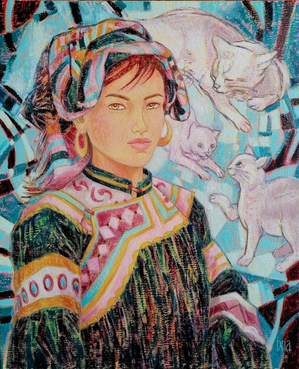 IXIA Artiste - Beauté Hmong aux chats 50 x 61 cm 2020