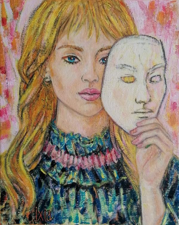 IXIA Artiste - Le masque blanc 33 x 41 cm 2019