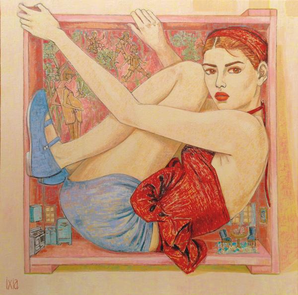IXIA Artiste - La colère - 100 x 100 cm, peinture à lhuile sur toile, 2021.