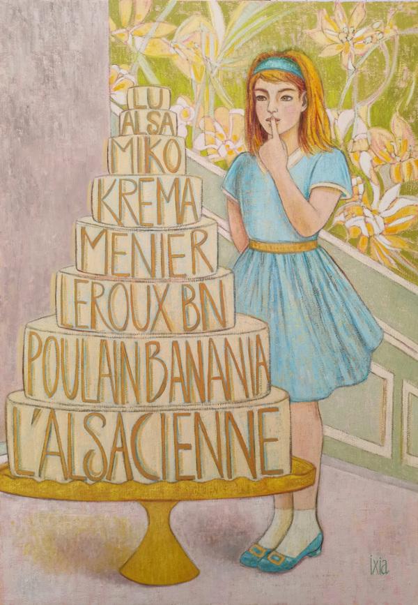 IXIA Artiste - La gourmandise - 116 x 81 cm, peinture à lhuile sur toile, 2021.