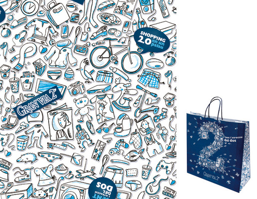marta biel tres il·lustració - Disseny de la bossa i el paper de regal de GV2  Premi 2010