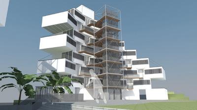 CLEMENT LANGELIN ARCHITECTURE - VUE DE LA PLACE CENTRALE