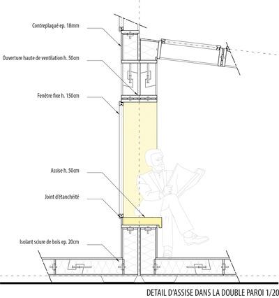 CLEMENT LANGELIN ARCHITECTURE - DETAIL ASSISE DANS LA DOUBLE PAROI