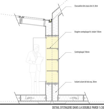 CLEMENT LANGELIN ARCHITECTURE - DETAIL ETAGERE DANS LA DOUBLE PAROI