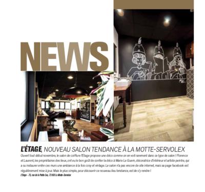 Marie LG - Article sur mon travail daménagement et de décoration sur le salon de coiffure LÉtage dans le magasine COSY