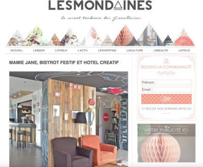 Marie LG - Article sur la Mamie Jane et mon travail daménagement et de décoration dans le Super blog LES MONDAINES