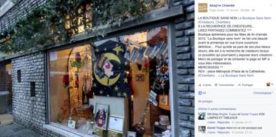 Marie LG - Shopn Chambé, article sur la page Facebook pour la promotion de notre boutique de créateurs éphémère. Vente et expo Novembre et Décembre 2015.
