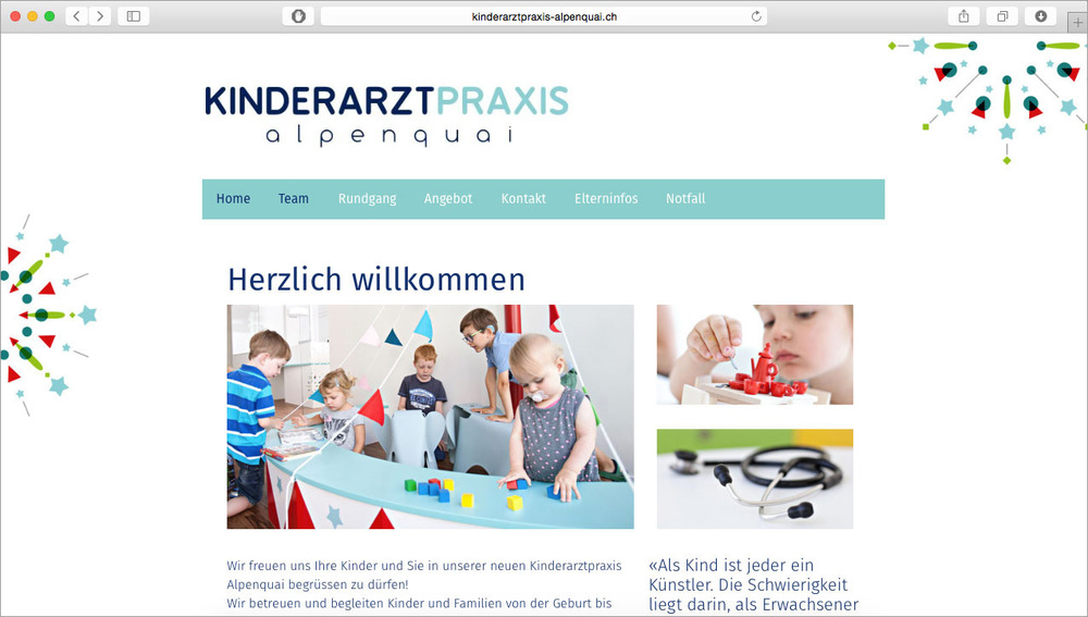 Anett Oldenburg AO_AD Art Direction, Grafik, Werbung - kinderarztpraxis-alpenquai.chFotos: Matthias Jurt