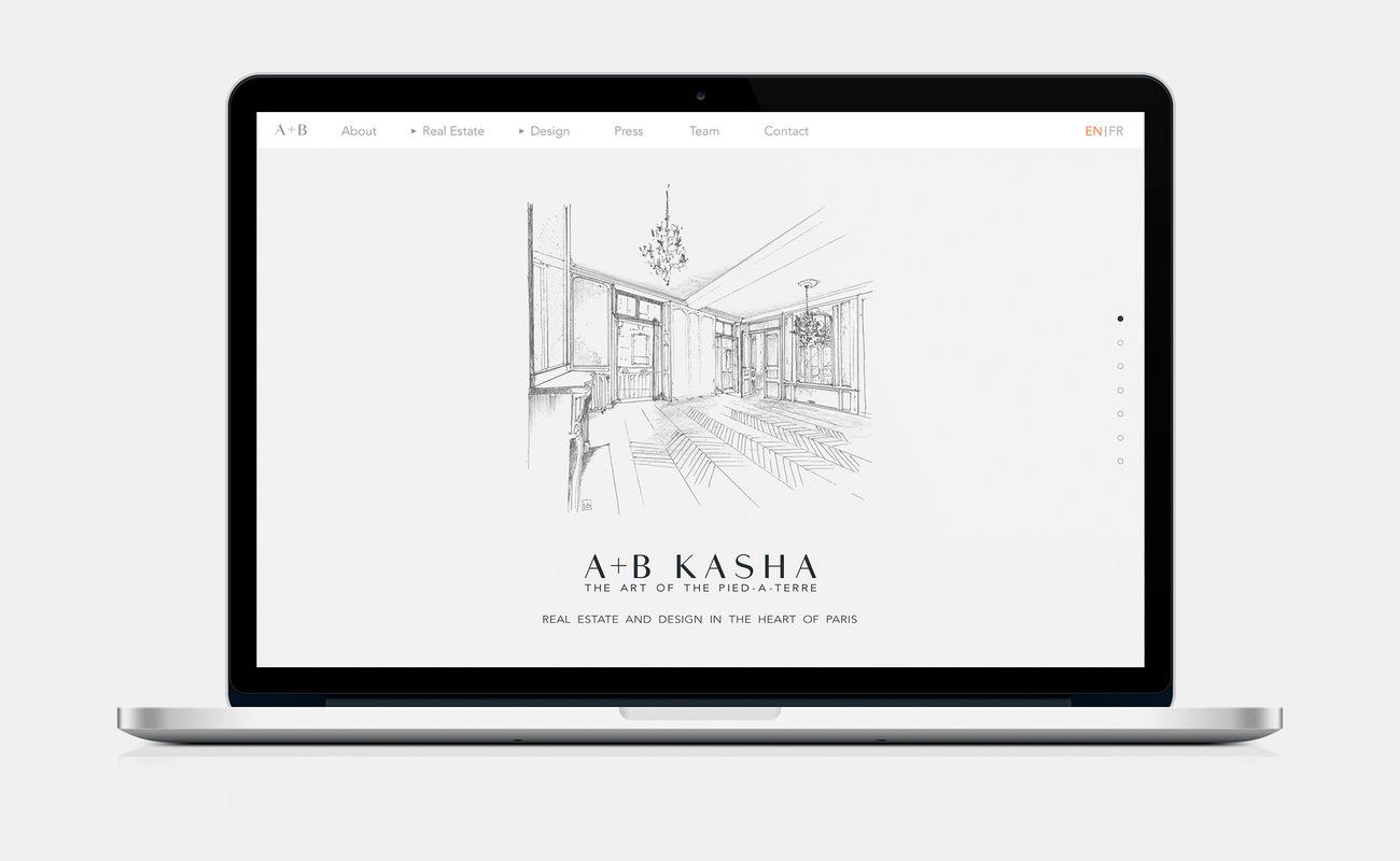 Marie Morane - 2015 - Web Refonte totale du site de lagence A+B Kasha pour une version plus moderne, fonctionnelle et ergonomique en parfaiteharmonie avec leur positionnement haut de gamme. LIEN:www.abkasha.com
