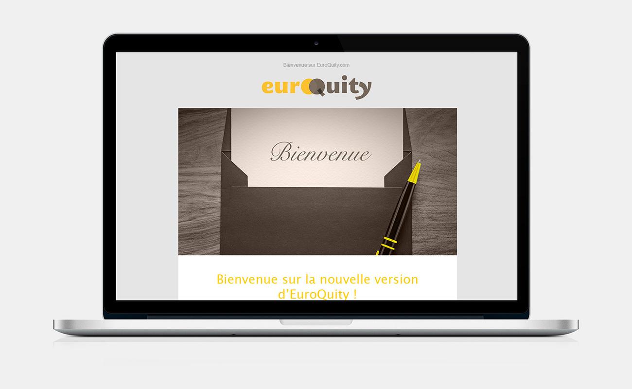 Marie Morane - 2015 - Web Mailing EuroQuity. Lobjectif était de présenterlesnouvelles fonctionnalitésmises à disposition sur la plateformepour lagence Wake me Up.