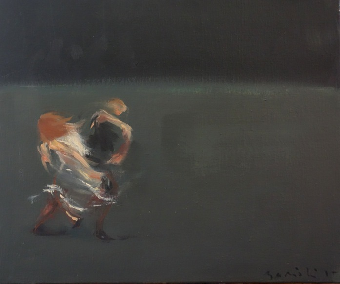 Bertrand de Miollis - 15-Danse animale 2- daprès Darkness is hiding blacks horses - 46 cm x38 cm