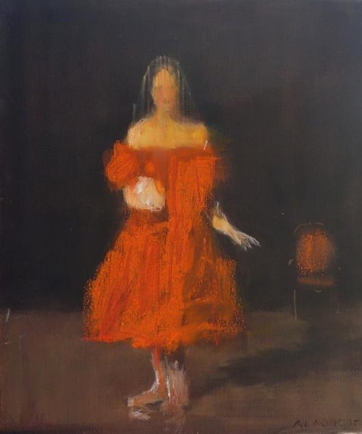 Bertrand de Miollis - 24-La Dame aux camélias- La Dame au fauteuil-55x46cm