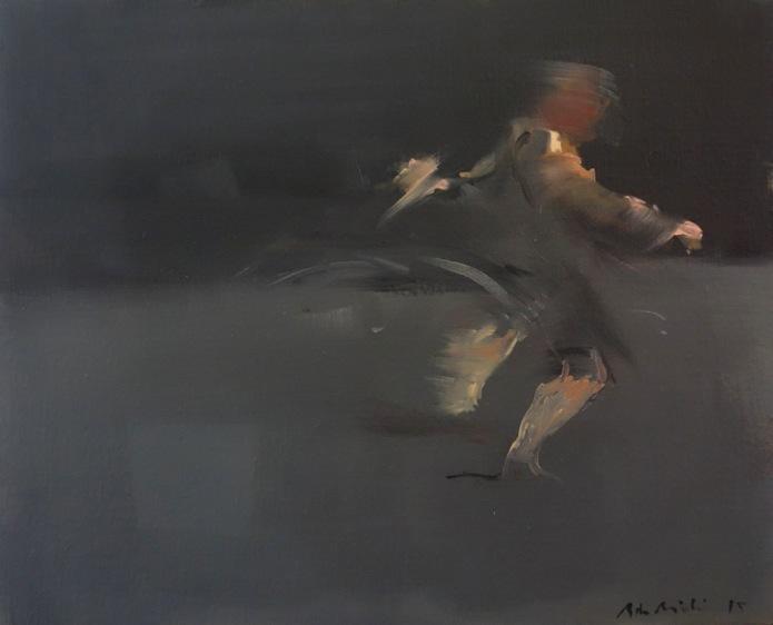 Bertrand de Miollis - 19- Danse animale 1- daprès Darkness is hiding blacks horses - 46 cm x38 cm