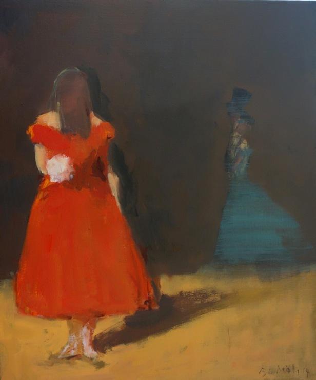 Bertrand de Miollis - 27-La Dame aux camélias- La dame aux passants- 61x50cm