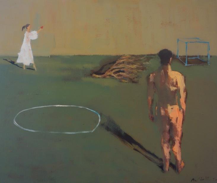 Bertrand de Miollis - 5- L'oiseau, d'après le ballet Orphée et Eurydice, huile sur toile, 65cm x 54cm