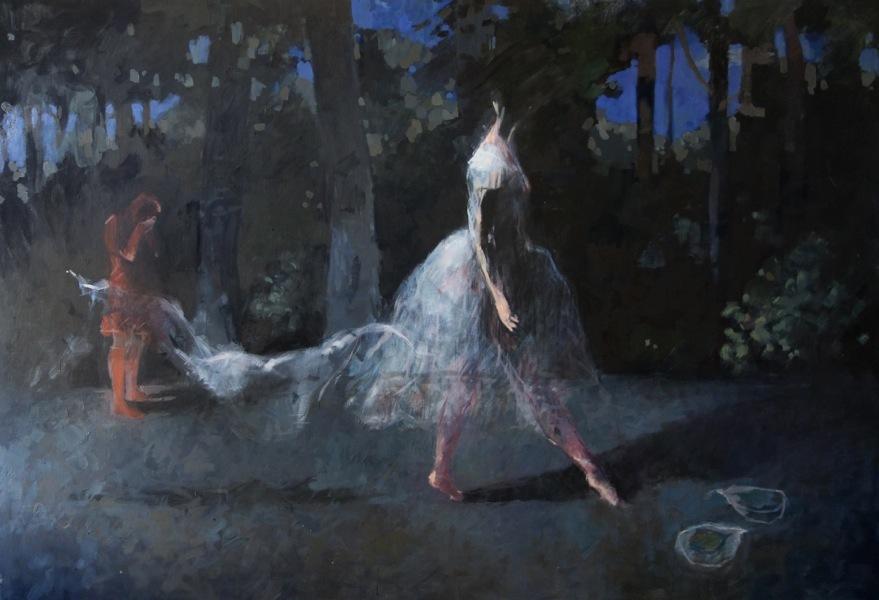 Bertrand de Miollis - 1- La mort de la Sylphide, inspiré du ballet La Sylphide, 210cm x 140cm