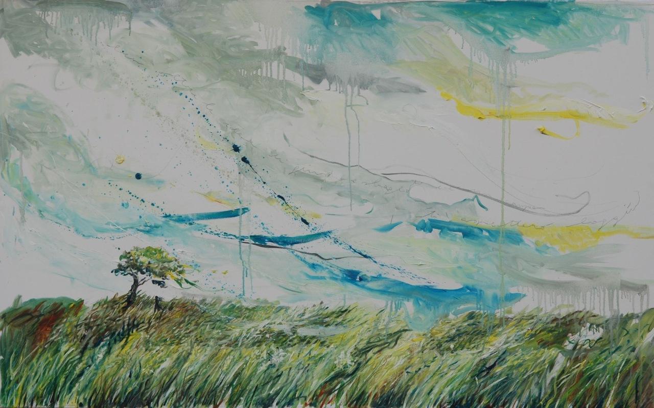 Martina Dalla Stella - Ben oltre le idee di giusto e di sbagliato cè un campo, ti aspetterò laggiù (J. Rumi), olio e matita su tela, 80x138 cm, 2014