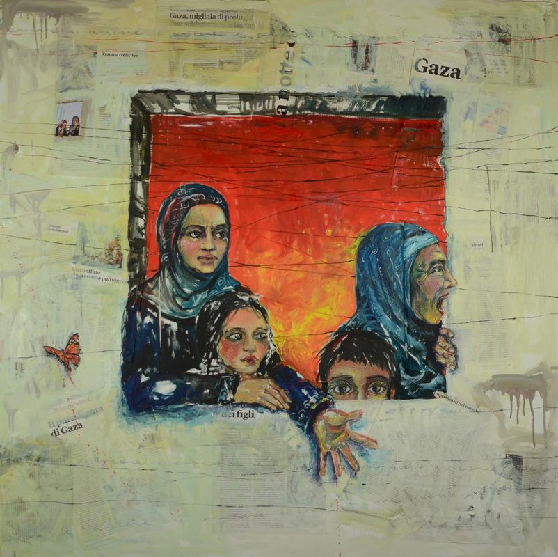 Martina Dalla Stella - Ancora, olio e carta di giornale su tela, 100x100 cm, 2014