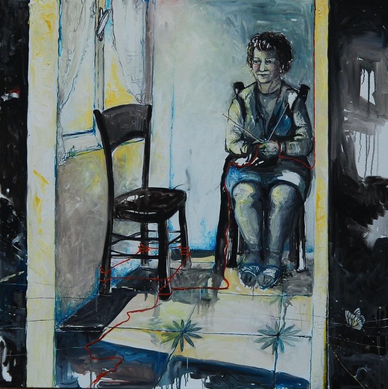 Martina Dalla Stella - Come in un ricordo...(a mia nonna), olio su tela, 100x100 cm, 2014