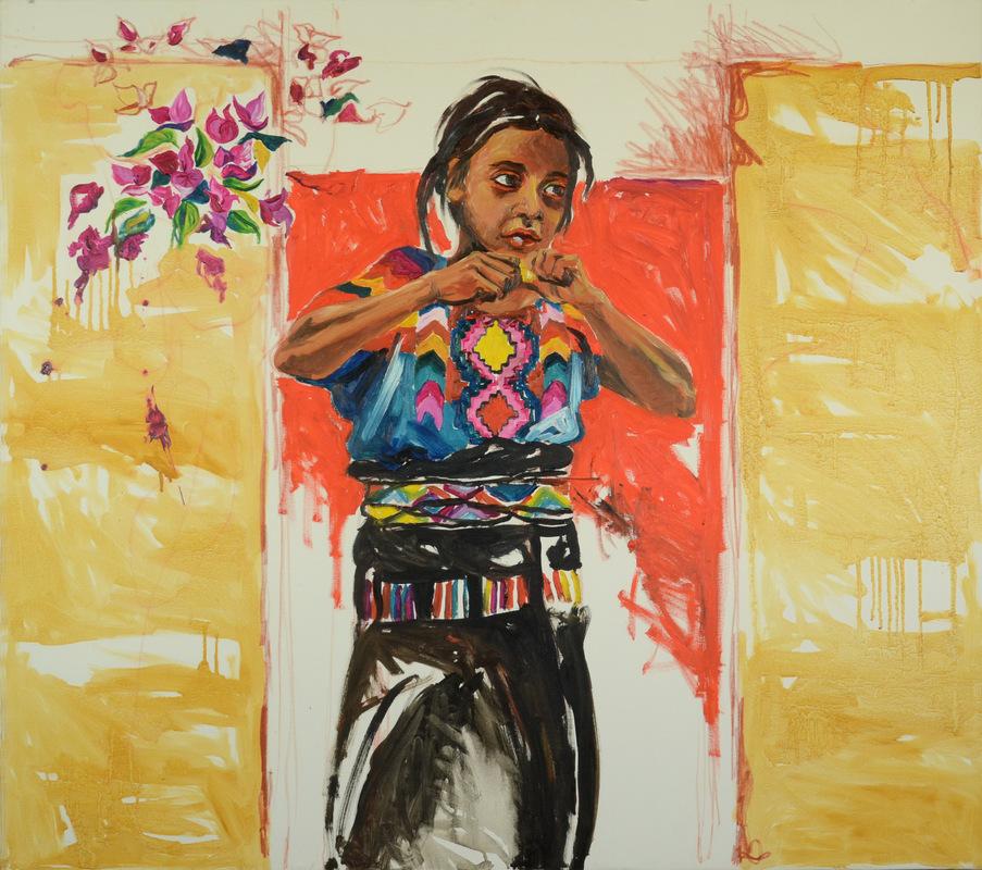 Martina Dalla Stella - Niña, olio e sanguigna su tela, 80x90 cm, 2007