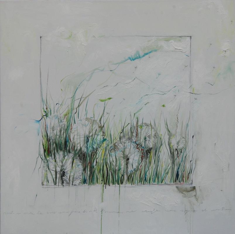 Martina Dalla Stella - Rento se sara la voce, come fiore de note, lanema se desfa come supiòn al vento (E. Sartori), olio su tela, 100x100 cm, 2014
