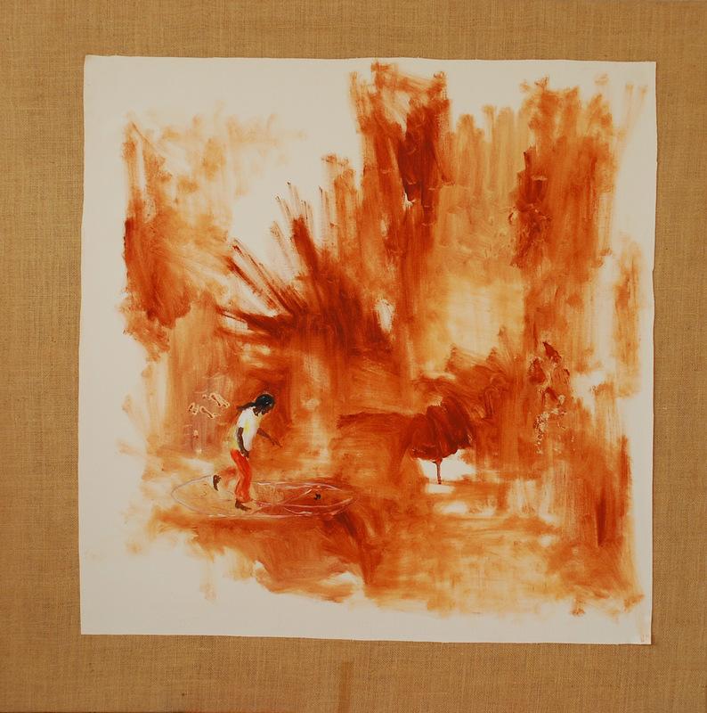 Martina Dalla Stella - Villa miseria, olio e terre su tela, 100x100 cm, 2006