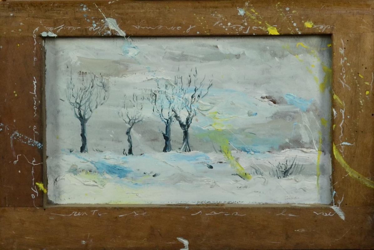 Martina Dalla Stella - Lanema se desfa come supiòn al vento (E. Sartori), olio su tavola, 22x33 cm, 2013