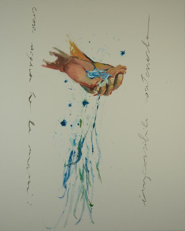Martina Dalla Stella - Come acqua tra le mani, impossibile contenerla, olio su tela, 90x70 cm, 2012