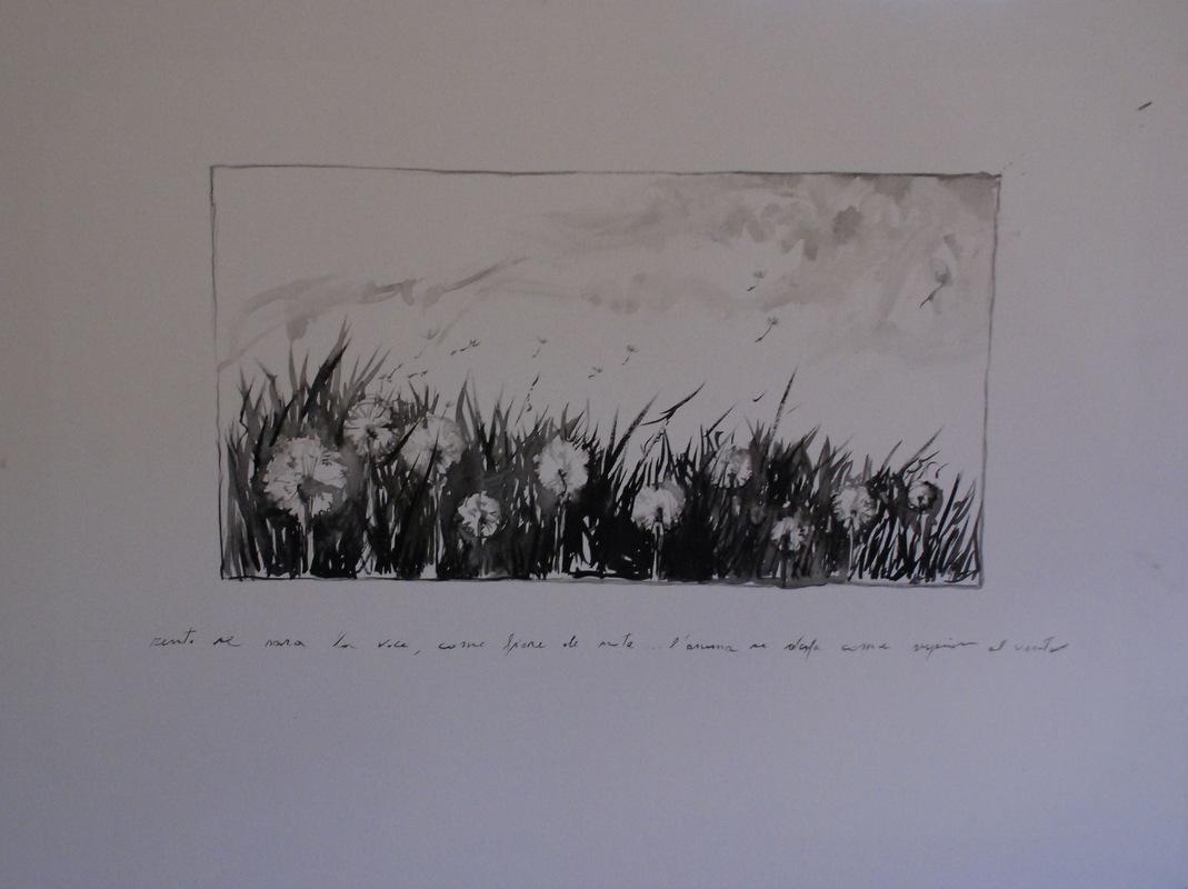Martina Dalla Stella - Soffioni, china nera su tela, 70x90 cm, 2014