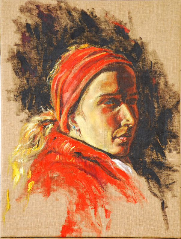 Martina Dalla Stella - Autoritratto, olio su tela grezza, 70x50 cm, 2007