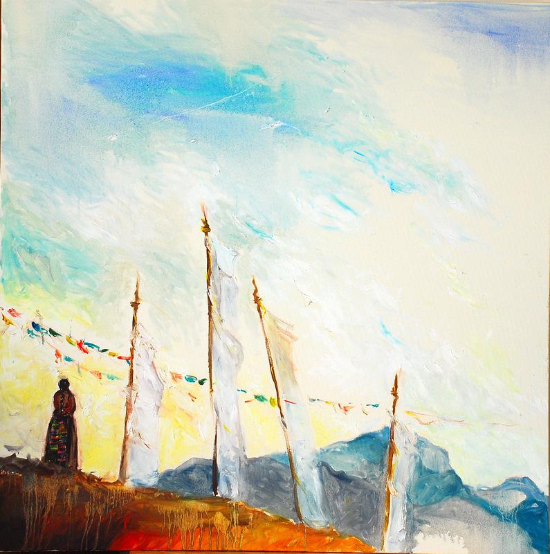 Martina Dalla Stella - Al vento, olio su tela, 100x100 cm, 2007