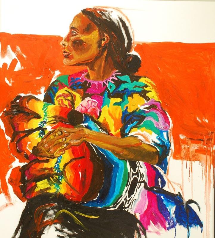 Martina Dalla Stella - Donna di Chichicastenango, olio su tela, 100x100 cm, 2007