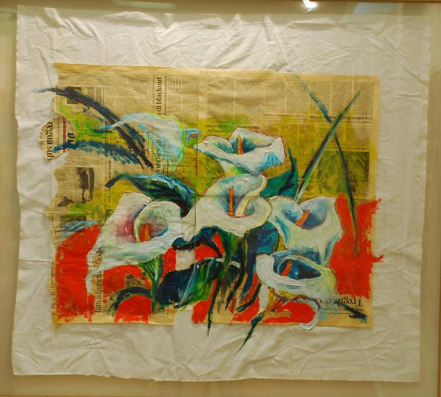 Martina Dalla Stella - Calle, ovvero il mondo alla rovescia, olio su carta di giornale su stoffa, 80x100 cm, 2006