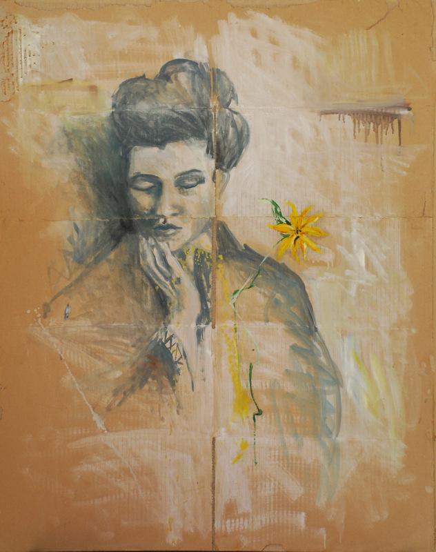 Martina Dalla Stella - Tina (omaggio a Tina Modotti), olio su carta da pacco su tela, 90x70 cm, 2006
