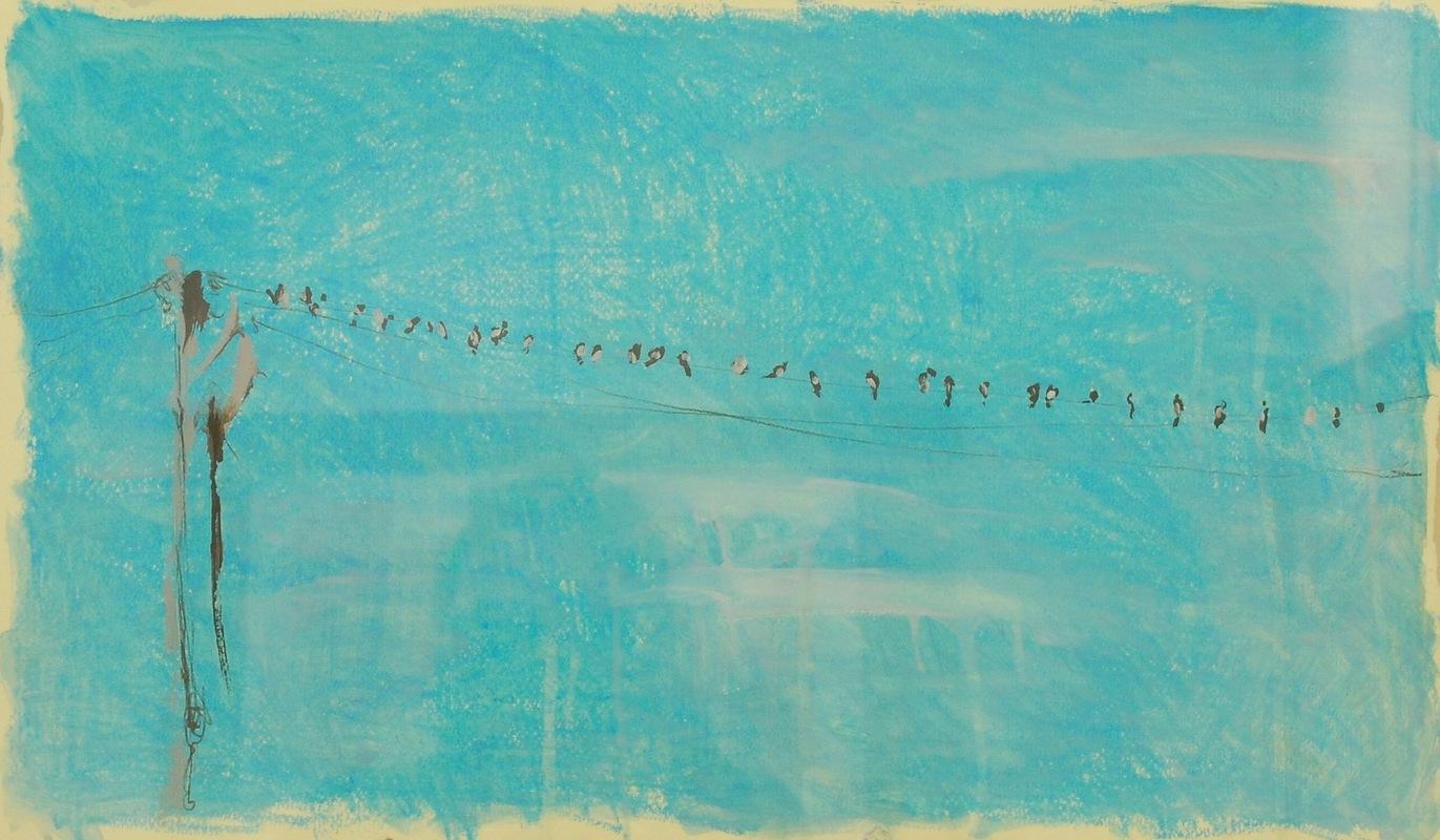 Martina Dalla Stella - Aspettando per migrare...(anchio così), pastelli a olio e olio su carta, 35x50 cm, 2006