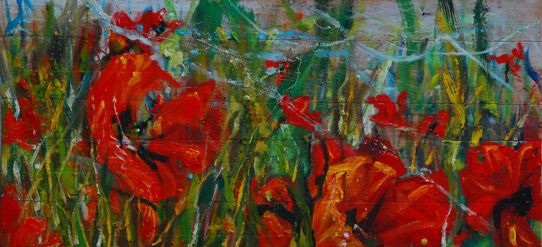Martina Dalla Stella - Papaveri, olio su tavola, 55x180 cm, 2015
