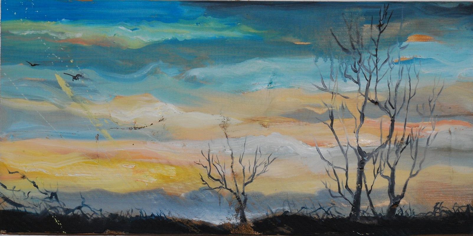 Martina Dalla Stella - Mattino dinverno, olio su tavola, 25x40 cm, 2014