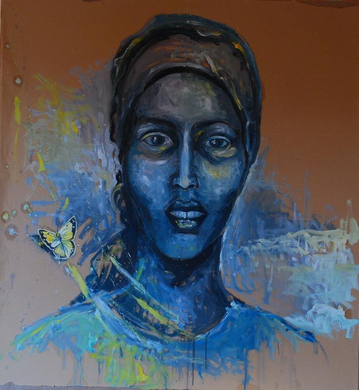 Martina Dalla Stella - Samia (omaggio a Samia Yusuf Omar, atleta somala, Mogadiscio, 25/03/1991, Mar Mediterraneo, 2/04/2012), olio su carta da pacchi su tela, 110x100 cm, 2014