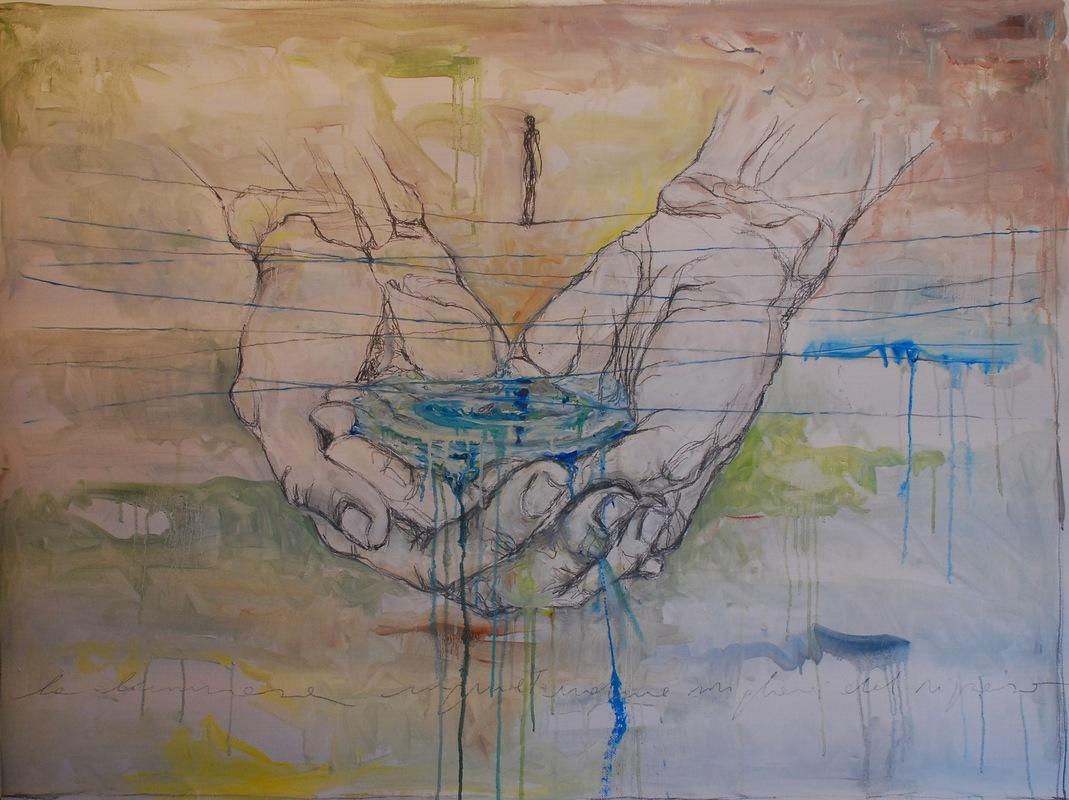 Martina Dalla Stella - La luminosa inquietudine migliore del riposo (F.Pessoa), olio e graffite su tela, 95x127 cm, 2015