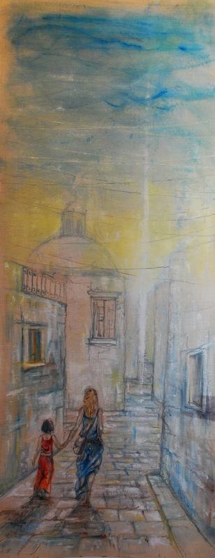 Martina Dalla Stella - Sur, olio su tela grezza, 185x75 cm, 2015