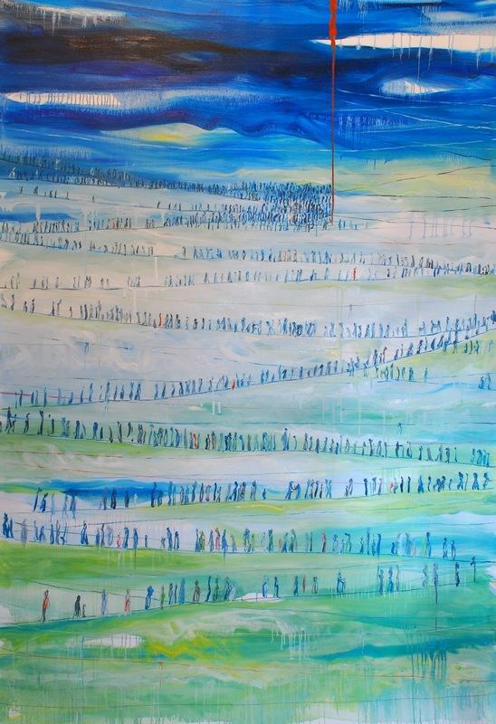 Martina Dalla Stella - La rotta dei Balcani, olio su tela, 200x150 cm, 2015