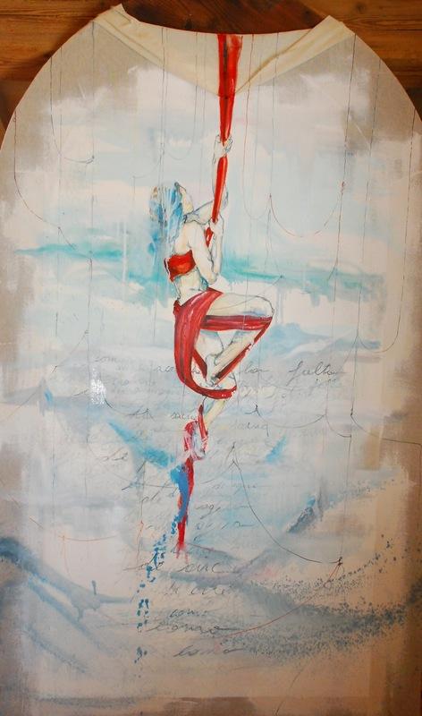 Martina Dalla Stella - Como aceptar la falta/ de savia/ de perfume/de agua/de aire/como (I. Vilariño), olio su garza, 212x126 cm, 2015