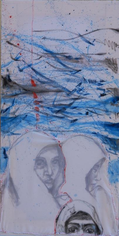 Martina Dalla Stella - Mediterraneo dinverno/2, olio su garza e velo, 108x55 cm, 2015