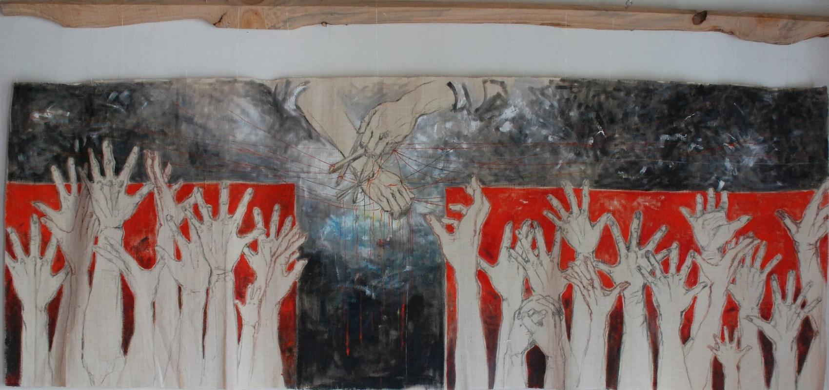Martina Dalla Stella - Confini, tecnica mista su tela, 95x210 cm, 2016
