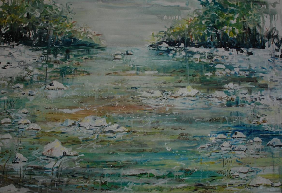 Martina Dalla Stella - Tutto scorre, olio su tela, 110x 150 cm, 2016