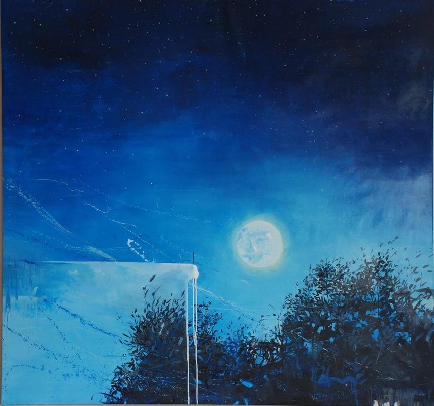 Martina Dalla Stella - Notturno, olio su tela, 150x150 cm, 2016